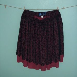 Red and black lace skirt from Francesca's